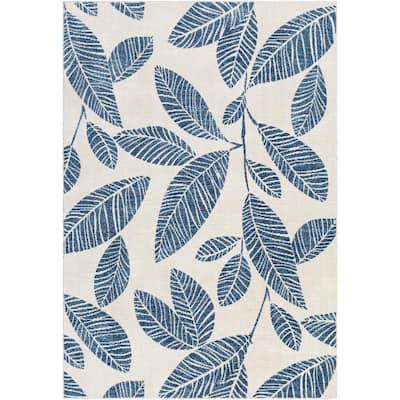 Petridi Dark Blue 8 ft. 10 in. x 12 ft. Floral Indoor/Outdoor Area Rug