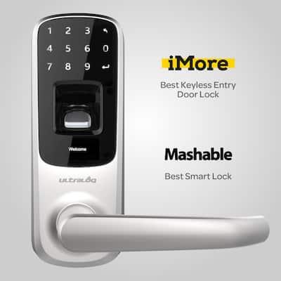 Satin Nickel Bluetooth Enabled Fingerprint and Touchscreen Smart Door Lock