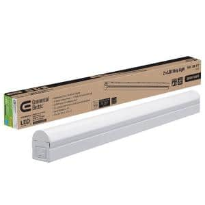 Plug In or Direct Wire Power Connection 2 ft. White 4000K Integrated LED Strip Light (with power cord and linking cord)