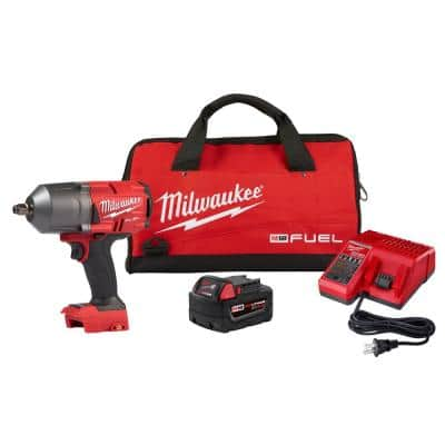 M18 FUEL 18-Volt Lithium-Ion Brushless Cordless 1/2 in. Impact Wrench w/Friction Ring Kit w/One 5.0 Ah Battery and Bag