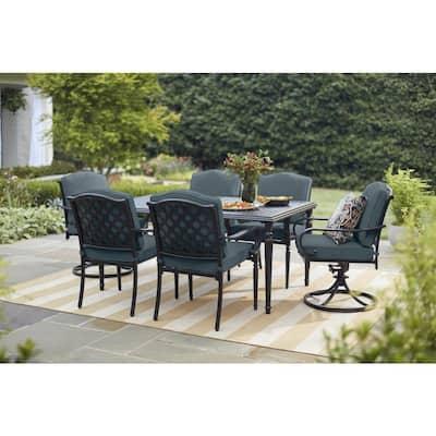 Laurel Oaks 7-Piece Brown Steel Outdoor Patio Dining Set with Sunbrella Denim Blue Cushions