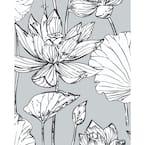 Lotus Grey Floral Vinyl Peel & Stick Wallpaper Roll (Covers 30.75 Sq. Ft.)