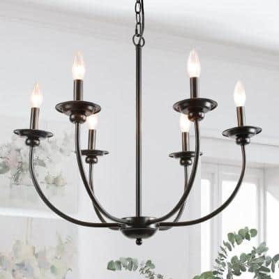 Black Farmhouse Candle Chandelier Light Luraca 6-Light Modern Traditional Chandelier Kitchen Island Pendant Lighting