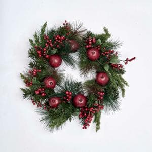 21 in. Pomegranate and Berry Wreath on Natural Twig Base