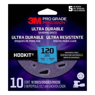 Pro Grade Precision 5 in. 120-Grit Ultra Durable Universal Hole Sanding Disc (10-Pack)