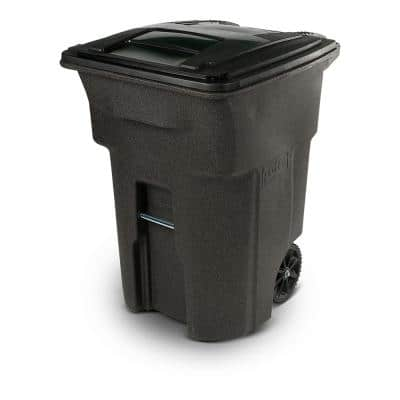 96 Gal. Brownstone Trash Can with Wheels and Attached Lid