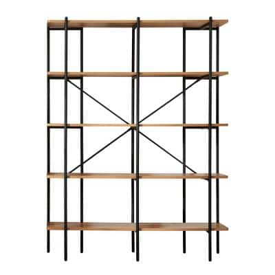 Querencia 63 in. Acacia Wood 5 Shelf Standard Bookcase with Metal Frame