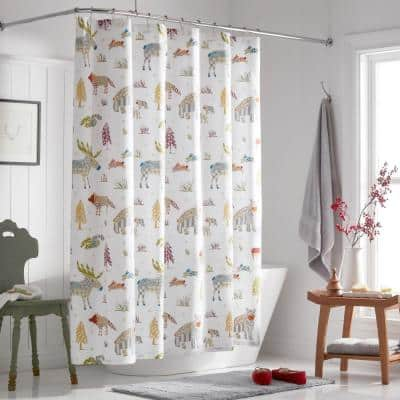 Company Cotton Woodland Animals Percale 72 in. Graphic Shower Curtain