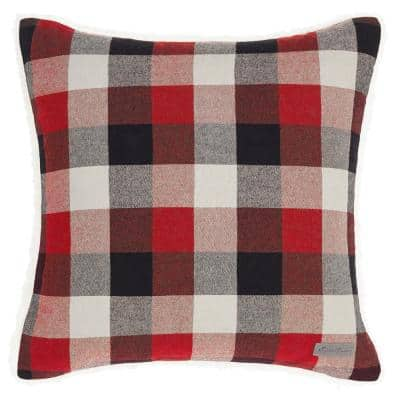 Ashwood Plaid Red 1-Piece 20X20 Cotton Blend Throw Pillow