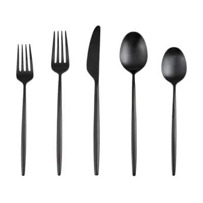 Gaze Black Satin 18/0 20-Piece Flatware Set (Service for 4)