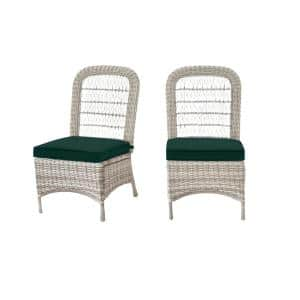 Beacon Park Gray Wicker Outdoor Patio Armless Dining Chair with CushionGuard Charleston Blue-Green Cushions (2-Pack)