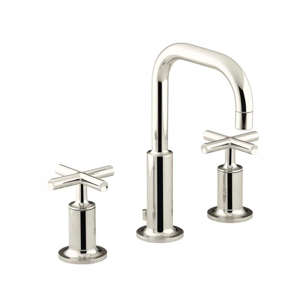 Kohler Purist 8 In Widespread 2 Handle Bathroom Faucet In Vibrant Polished Nickel K 14406 3 Sn The Home Depot