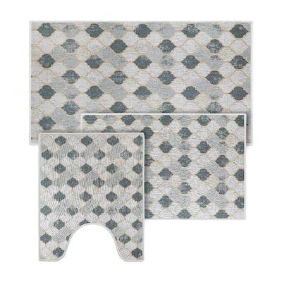 Beige-Gray Color Geometric Trellis Design Cotton Non-Slip Washable Thin 3 Piece Bathroom Rugs Sets