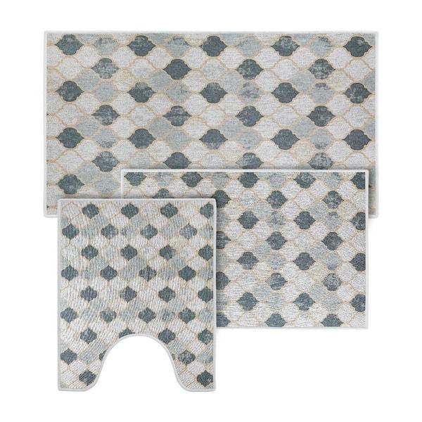 Sushome Beige Gray Color Geometric, Thin Bathroom Rugs