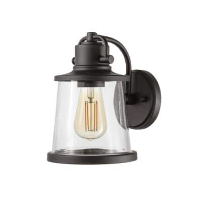 Charlie 1-Light Matte Black Clear Glass Shade Outdoor Indoor Wall Sconce with LED Bulb Included