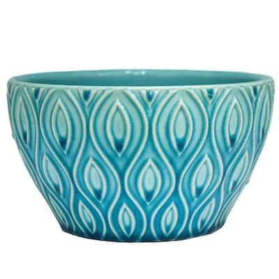 8 in. Aqua Featherlinx Ceramic Planter
