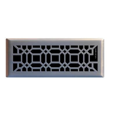 Oriental 4 in. x 12 in. Steel Floor Register in Brushed Nickel