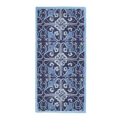Art Deco Classic Rectangular Hearth Rug, 56 Inch Long, Prussian Blue