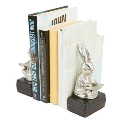 Silver Aluminum Non-Skid Rabbit Reading Book Stand, Book Holder and Book Bookends