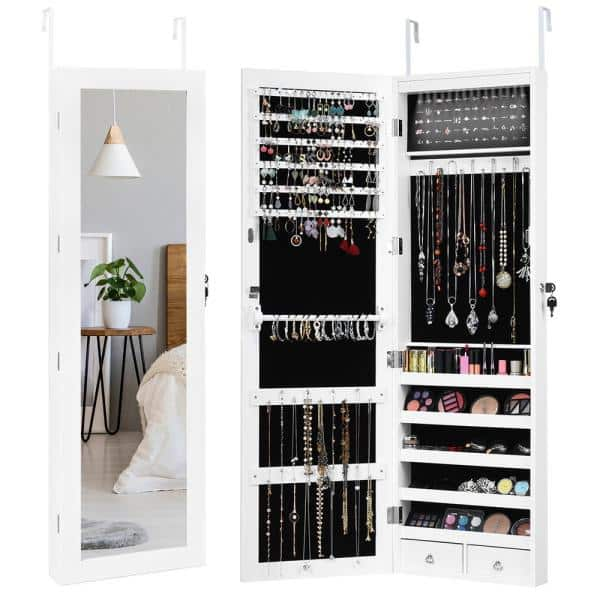 Costway Wall Door Mounted Mirror Jewelry Box Cabinet Lockable Armoire Organizer With Led Light Hw59439 The Home Depot
