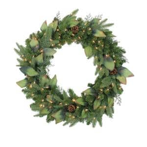 30 in. Pre-Lit Mixed Winter Pine Artificial Christmas Wreath with Clear Lights