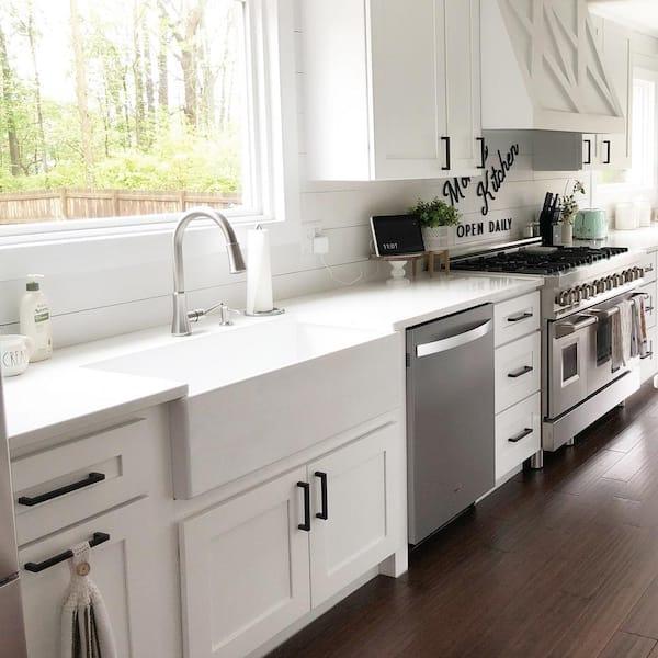 bradstreet ii farmhouse apron front fireclay 36 in single bowl kitchen sink in crisp white