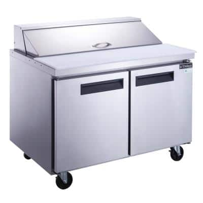 46 in. W 11.4 cu. Ft. 2-Door Commercial Food Prep Table Refrigerator in Stainless Steel