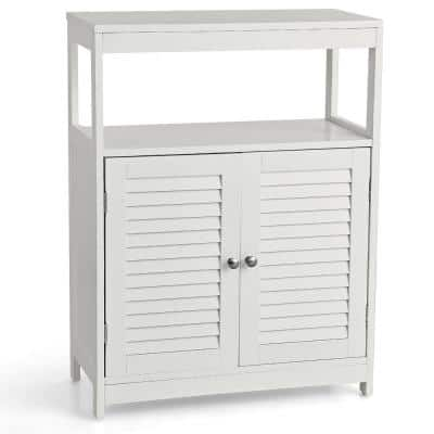 White Bathroom Floor Accent Cabinet with Double Shutter Doors