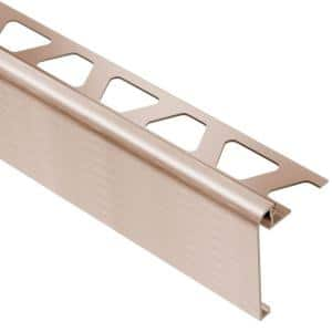 Rondec-Step Brushed Copper Anodized Aluminum 3/8 in. x 8 ft. 2-1/2 in. Metal Tile Edging Trim