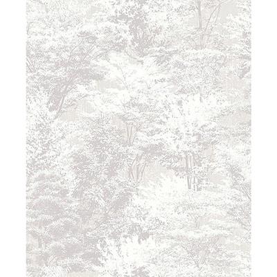 Camphor Light Grey Trees Vinyl Peelable Wallpaper (Covers 56.4 sq. ft.)