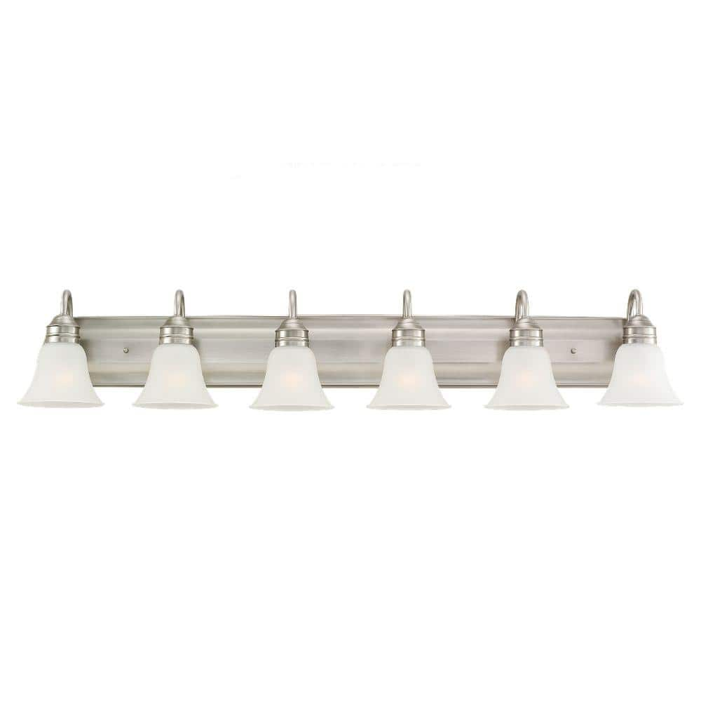 Sea Gull Lighting Gladstone 50 In W 6 Light Antique Brushed Nickel Vanity Light With Satin Etched Glass 44855 965 The Home Depot