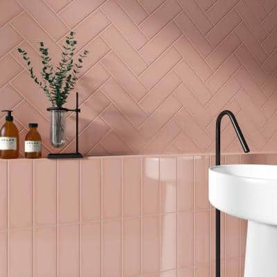 Remington Pink 3.93 in. x 11.81 in. Polished Porcelain Wall Tile (13.55 sq. ft./Case)