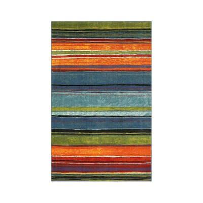 Rainbow Multi 6 ft. x 9 ft. Striped Area Rug