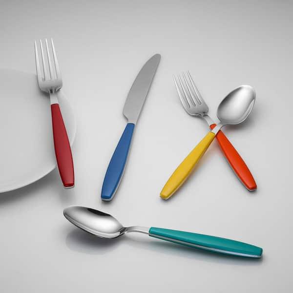 Cool 53-Piece Merengue Multicolor Flatware Set with Steak Knives Service for 8