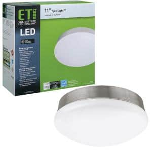 Spin Light 11 in. Round Brushed Nickel Base LED Flush Mount Ceiling Light 4000K Bright White 1600 Lumens