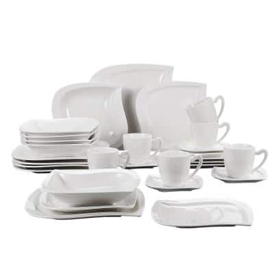 Elvira 30-Piece Modern Ivory White Porcelain Dinnerware Set (Service for 6)