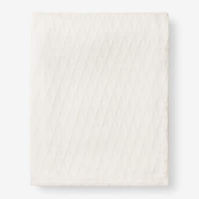 Cotton Bamboo Ivory Queen Woven Blanket