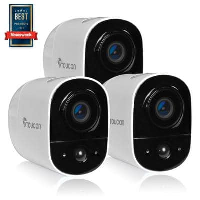 Wireless Outdoor Camera 1-Channel Home Surveillance System 1080P Video w/2.4Ghz Wi-Fi and 2-Way Communication (3-Pack)