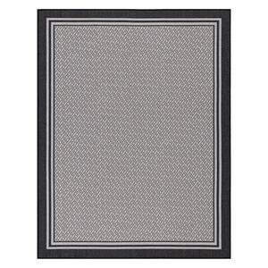 Jardin Collection Black Border Design Flat Weave 5 ft. 3 in. x 7 ft. Jute Back Indoor/Outdoor Area Rug