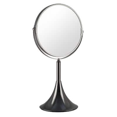 5.75 in. x 16 in. Moderne Makeup Mirror in Antique Nickel