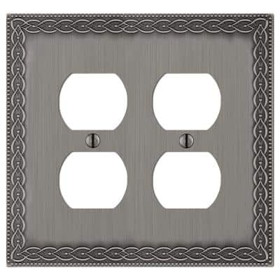 Amelia 2 Gang Duplex Metal Wall Plate - Antique Nickel
