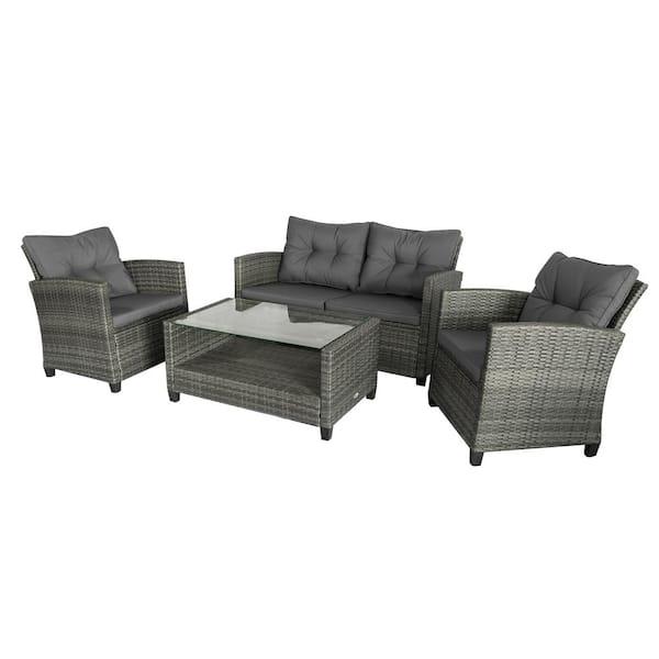 Outsunny Grey 4 Piece Iron Plastic, Grey Rattan Garden Furniture Sets