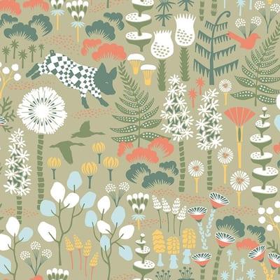 Hoppet Green Folk Paper Strippable Roll Wallpaper (Covers 57.8 sq. ft.)