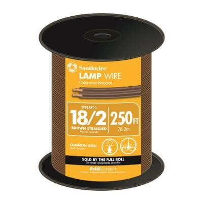 250 ft. 18/2 Brown Stranded CU SPT-1 Lamp Wire