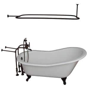 5 ft. Cast Iron Ball and Claw Feet Slipper Tub in White with Oil Rubbed Bronze Accessories