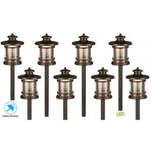 Low-Voltage 3-Watt Oil Rubbed Bronze Outdoor Integrated LED Landscape Path Lights with Crackled Shade (8-pack)
