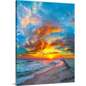 Greatbigcanvas 18 In X 24 In Colorful Ocean Sunset Red Blue Vertical Panorama By Eszra Tanner Canvas Wall Art 2528580 24 18x24 The Home Depot