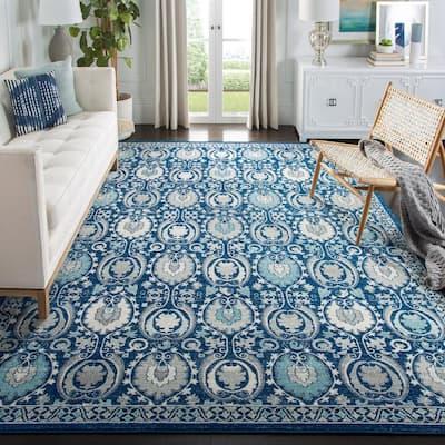 Evoke Blue/Ivory 8 ft. x 10 ft. Floral Border Geometric Area Rug