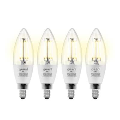 40-Watt Equivalent Wi-Fi Smart B11 Vintage Edison Filament Dimmable LED Light Bulb White (4-Pack)