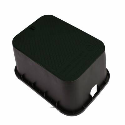 15 in. x 21 in. x 12 in. Deep Rectangular Valve Box in Black Body Black Lid